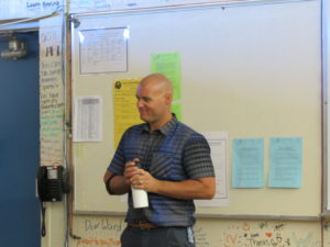 Brian Leidner welcomes his class to a new week of learning