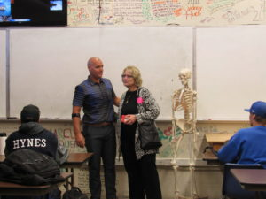 New Fire Technology/EMR teacher, Brian Leidner introduces his mother and Board member Laurel to his class