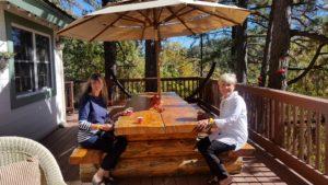 Toni and Karen enjoying tea on the Tymczyszyn's deck